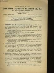 Catalogue De La Librairie Auguste Blaizot N°298 - Couverture - Format classique