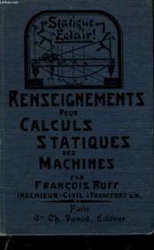 Renseignements Pour Calculs Statiques Des Machines - Couverture - Format classique