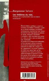 Les Theatres Du Reel - 4ème de couverture - Format classique