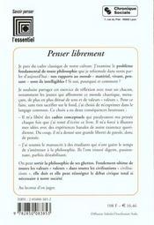 Penser Librement - 4ème de couverture - Format classique