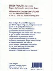 Histoire amoureuse des Gaules ; maximes d'amour ; carte du pays de Braquerie - 4ème de couverture - Format classique