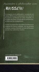 Apprendre à philosopher avec ; Rousseau - 4ème de couverture - Format classique