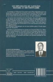Dictionnaire des diplomates de Napoléon - 4ème de couverture - Format classique