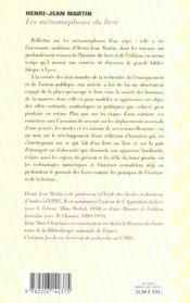 Les metamorphoses du livre - entretiens avec jean-marc chatelain et christian jacob - 4ème de couverture - Format classique
