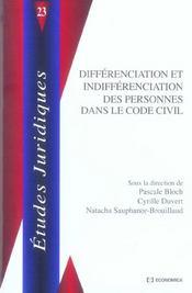 Differenciation Et Indifferenciation Des Personnes Dans Le Code Civil - Intérieur - Format classique