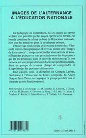 Images De L'Alternance A L'Education Nationale - 4ème de couverture - Format classique