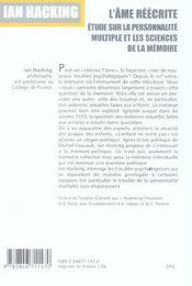 L'Ame Reecrite. Etude Sur La Personnalite Multiple Et Les Sciences De La Memoire - 4ème de couverture - Format classique