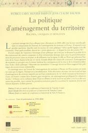 Politique d amenagement du territoire - 4ème de couverture - Format classique