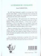 Le Negrier De L'Humanite - 4ème de couverture - Format classique