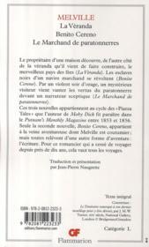 Benito Cereno ; la vérranda ; le marchand de paratonnerres - 4ème de couverture - Format classique