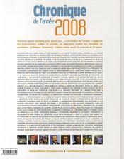 Chronique de l'année 2008 - 4ème de couverture - Format classique