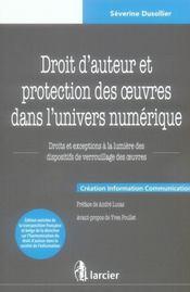 Droit d'auteur et protection des oeuvres dans l'univers numerique - Intérieur - Format classique