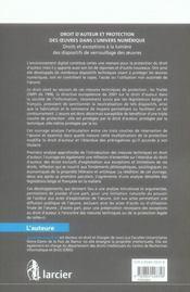 Droit d'auteur et protection des oeuvres dans l'univers numerique - 4ème de couverture - Format classique