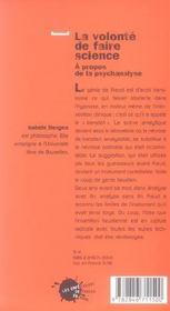 La Volonte De Faire Science. A Propos De La Psychanalyse - 4ème de couverture - Format classique