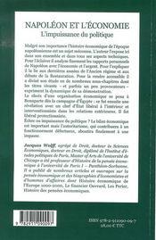 Napoléon et l'économie ; l'impuissance du politique - 4ème de couverture - Format classique