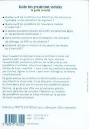 Guide des prestations socales - 4ème de couverture - Format classique