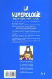 La numérologie ; méthode pratique - 4ème de couverture - Format classique
