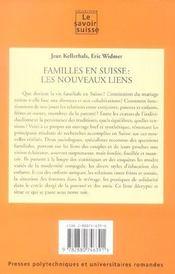 Familles En Suisse ; Les Nouveaux Liens - 4ème de couverture - Format classique