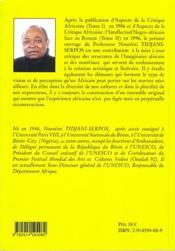 Archéologie du savoir négro africain ; création esthétique et littéraire - 4ème de couverture - Format classique