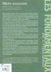 Micro-assurance ; defis, mise en place et commercialisation - 4ème de couverture - Format classique