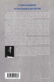 Le Service De Renseignement Des Forces Francaises Du Laos 1946-1948 - 4ème de couverture - Format classique