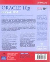 Oracle 10g guide du dba - 4ème de couverture - Format classique