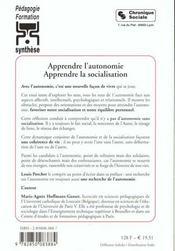 Apprendre L'Autonomie -Apprendre La Socialisation 4e Edition - 4ème de couverture - Format classique