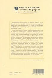 Memoire de pierre, memoire de papier. la mise en scene du passe en al sace - 4ème de couverture - Format classique