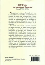 Journal de la cour du roi soleil t.18 ; Chamillart - 4ème de couverture - Format classique
