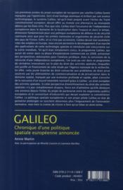 Galileo ; chronique d'une politique spatiale européenne annoncée ; édition 2009 ; t.32 - 4ème de couverture - Format classique