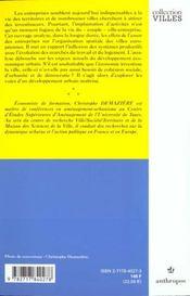 Entreprises ; Developpement Economique Et Espace Urbain - 4ème de couverture - Format classique