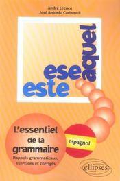 Ese Este Aquel L'Essentiel De La Grammaire Espagnol Rappels Grammaticaux Exercices Et Corriges - Intérieur - Format classique