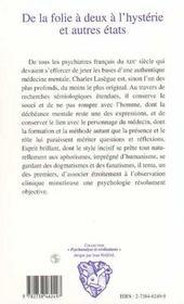 De La Folie A Deux A L'Hysterie Et Autres Etats - 4ème de couverture - Format classique