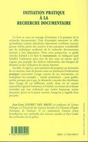 Initiation Pratique A La Recherche Documentaire - 4ème de couverture - Format classique