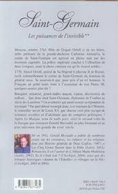 Saint-Germain. L'Homme Qui Ne Voulait Pas Mourir T.2 ; Les Puissances De L'Invisible - 4ème de couverture - Format classique