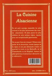 La cuisine alsacienne - 4ème de couverture - Format classique