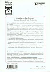 Au risque de changer chemins de traverse pour l'entreprise - 4ème de couverture - Format classique