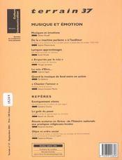 TERRAIN N.37 ; musique et émotion - 4ème de couverture - Format classique