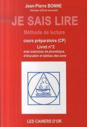Je sais lire ; livret n.2 ; cp - Intérieur - Format classique