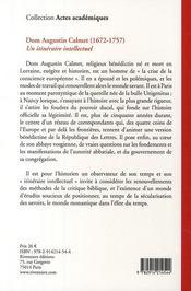 Dom Augustin Calmet ; un itinéraire intellectuel - 4ème de couverture - Format classique