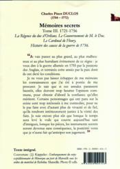 Mémoires secrets t.3 ; (1721-1756) ; le règne de Louis XV - 4ème de couverture - Format classique