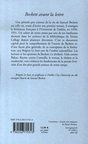 Beckett avant la lettre - 4ème de couverture - Format classique