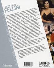 Federico Fellini - 4ème de couverture - Format classique