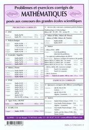 Problemes Corriges De Mathematiques Ensam Estp Ecrin Archimede (E3a) Et Icare - 4ème de couverture - Format classique