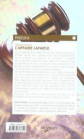 Affaire Lafarge (L) - 4ème de couverture - Format classique