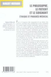 Le Philosophe, Le Patient Et Le Soignant. Ethique Et Progres Medical - 4ème de couverture - Format classique