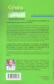 Genealogie une passion moderne - 4ème de couverture - Format classique