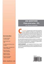 700 questions pilote prive avion ppl - 4ème de couverture - Format classique