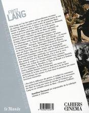 Fritz Lang - 4ème de couverture - Format classique