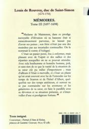 Mémoires t.3 ; (1697-1698) - 4ème de couverture - Format classique